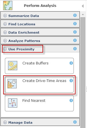 Drive-time analysis is one of the proximity analysis tools in ArcGIS Online.