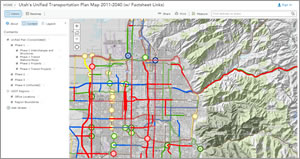 A web map in UPLAN displays phase-based, long-term plans for Utah's roads and highways.