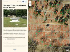 Each orange symbol in this Esri Story Map Journal denotes a grave marker at the Marietta Cemetery.