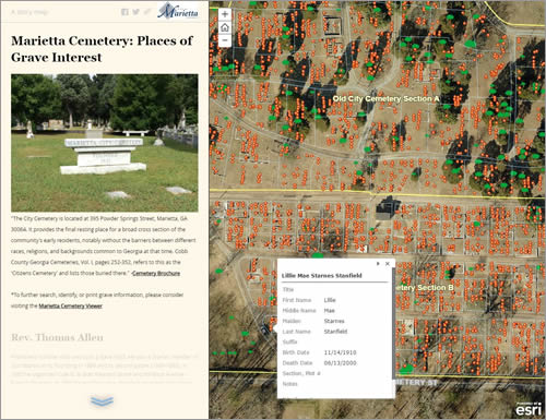 This story map shows the location of the final resting places of many early residents of Marietta, along with photos of their gravestones.