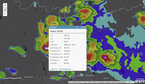 Users can quickly add past, present, and future weather data to their maps and apps to analyze, for example, how hail in North Texas contributed to more than $1 billion in losses.