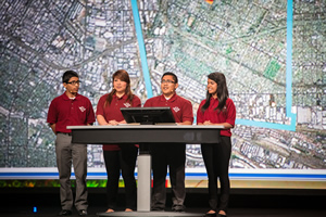 Roosevelt High School Students (from left) Alexander Cosio, Stephany Ortiz, Uriel Gonzalez, and Roxana Ayala show the types of analysis they did using Esri ArcGIS.