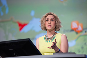 Lauren Bennett of Esri uses ArcGIS Online to do spatial analysis.