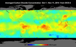 Global atmospheric carbon dioxide concentrations from October 1 through November 11, 2014, as recorded by NASA's Orbiting Carbon Observatory-2 satellite. Image courtesy of NASA/JPL-Caltech.