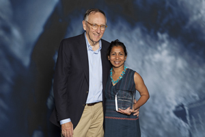 For her work with the WFP, Esri president Jack Dangermond gave Senadheera a Making a Difference Award.