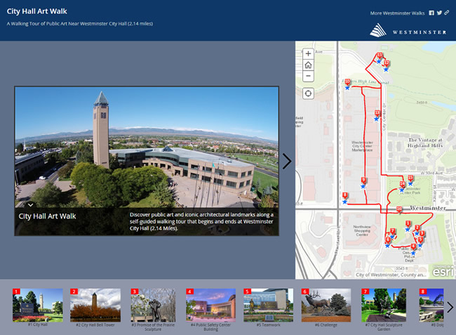 People can access the City Hall Art Walk story map on their devices while exploring the area.
