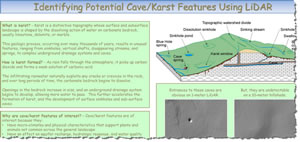 The poster Identifying Potential Cave/Karst Features Using LiDAR impressed the judges, winning the award for Best Instructional Map.