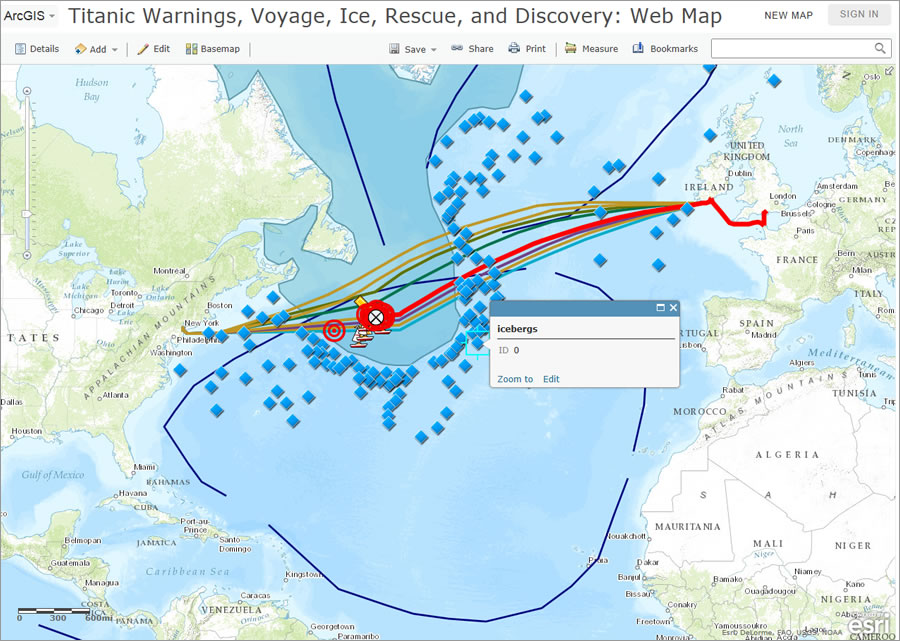 Make social studies come alive with web maps students can use arcgis online to study the fateful voyage of the titanic gumiabroncs Images