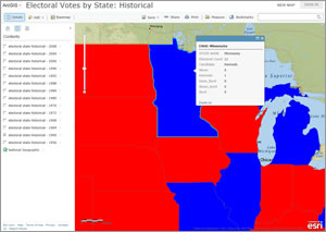 It's common today to see election results on interactive web maps. Web maps also can be used to study the results of past elections, too.