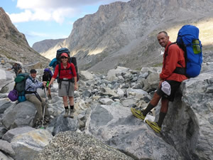 Jeremy Nielsen joins Jacki Klancher and Darran Wells on a glacier in Wyoming's Wind River Range.