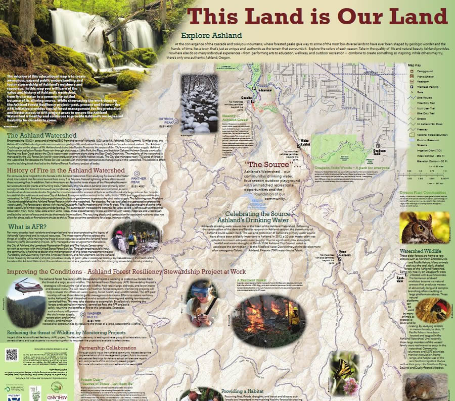 Arcwatch marvelous maps the city of ashlands this land is our land map explores ashlands watershed trails lakes streets and lithia park gumiabroncs Image collections