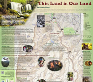 The City of Ashland's <em>This Land is Our Land</em> map explores Ashland's watershed, trails, lakes, streets, and Lithia Park.