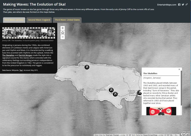 Gallant's entry in the 2016 Esri Storytelling with Maps Contest focused on ska music.