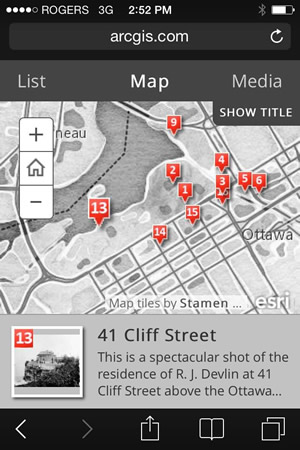 The Old Ottawa App Displayed on an iPhone.