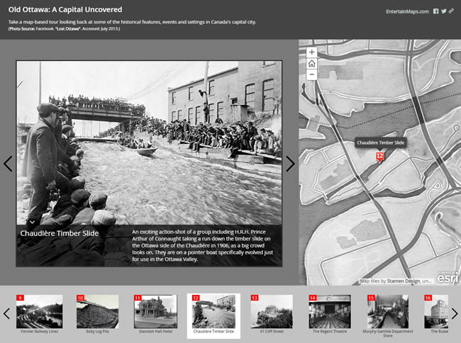 Gallant created the Old Ottawa app using the Story Map Tour Template, which is ideal for presenting a linear, place based narrative featuring images or videos.