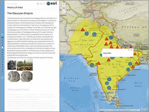 The portions of the map colored in yellow were part of the Maurya Empire founded by Chandragupta Maurya about 322 BC.