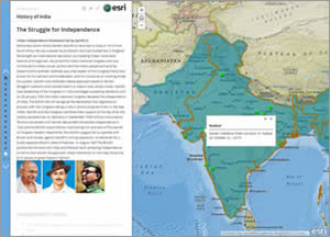 The birthplaces of some of the leaders of India's independence movement are displayed on this map.