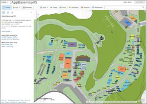Sarah Linden created this basemap for the Jamboree. It shows the various shops, AT&T Stadium, and areas for archery, volleyball, basketball, bowling, and other activities.
