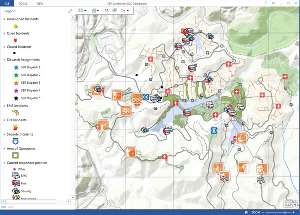 This dashboard shows the location of fire vehicles, ambulances, and first aid stations.