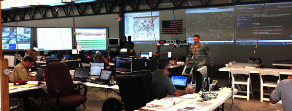 Dashboards were used inside The Summit Logistics Operations Center.