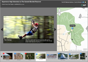 Linden created a story map called Experience Adventure at The Summit Bechtel Reserve using ArcGIS Online. She included photographs and maps of venues, including the skate park, the pools for scuba diving, a sustainability tree house, the zip lines, and a rock-climbing wall.