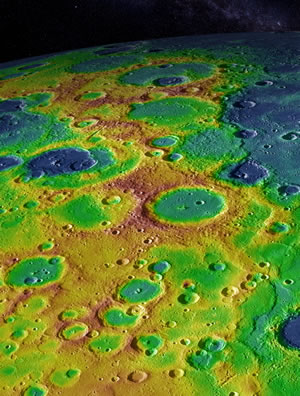 This image shows Mercury's surface with elevations color-coded from high to low terrain.
