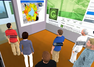 An avatar representing Michael Flaxman (in the white suit), a geodesign faculty member at Penn State, views a geodesign project with other student and faculty avatars in the virtual classroom. The avatars for José Rivas and Greg King are pictured.