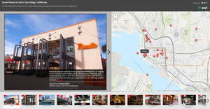 Workbook readers will learn how to create and share Esri Story Maps like this one that highlights places to eat in San Diego, California.