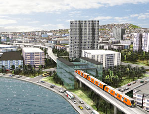 Esri CityEngine offers  a realistic 3D view of a design alternative for a light rail system downtown Honolulu, Hawaii.