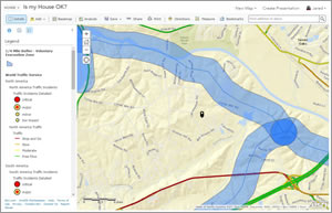 A voluntary evacuation was called within one-fourth of a mile of the Lexington County side of the banks of the Congaree and Saluda Rivers. To find out if his house was in the zone, Shoultz created a quarter mile buffer around a hydrology layer in ArcGIS Online.
