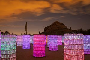 The Bruce Munro Water-Towers exhibit at Desert Botanical Garden was created using stacked water bottles and fiber optics. (Photo by Adam Rodriguez.)