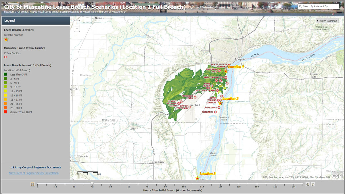 The City of Muscatine Levee Breach Scenario maps are published online along with the Army Corps of Engineers study presentation.