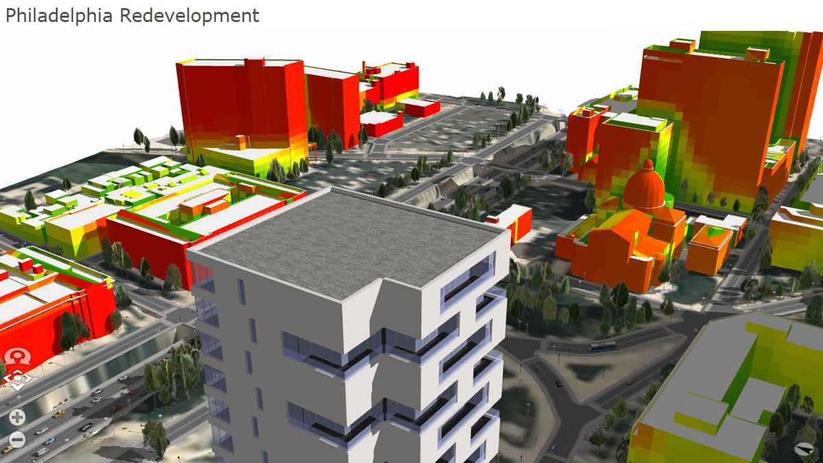 Visual impact analysis of proposed building in downtown Philadelphia using CityEngine.