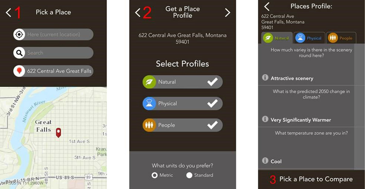 Available for iPhone and Android, Field Notes—Earth lets you pick a place (left), pick your profiles (center), and get results about your place.