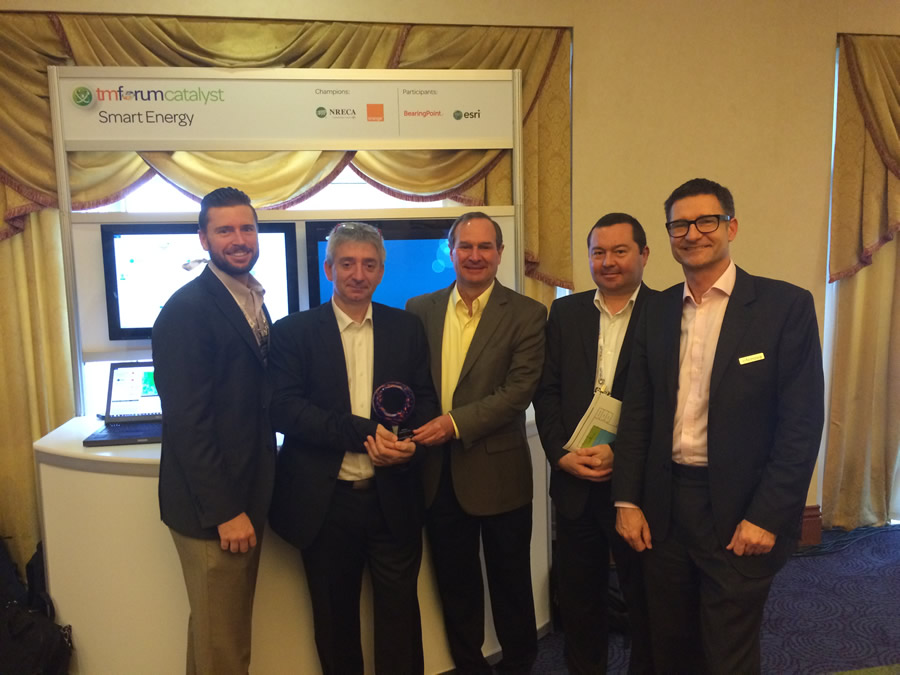 Esri and teammates took home the Most Innovative Catalyst Award at TM Forum's Catalyst InFocus conference. Pictured left to right: Patrick Huls (Esri), Christian Maitre (Orange), Randy Frantz (Esri), Patrice Mallet (BearingPoint), Andreas Polz (Infonova).