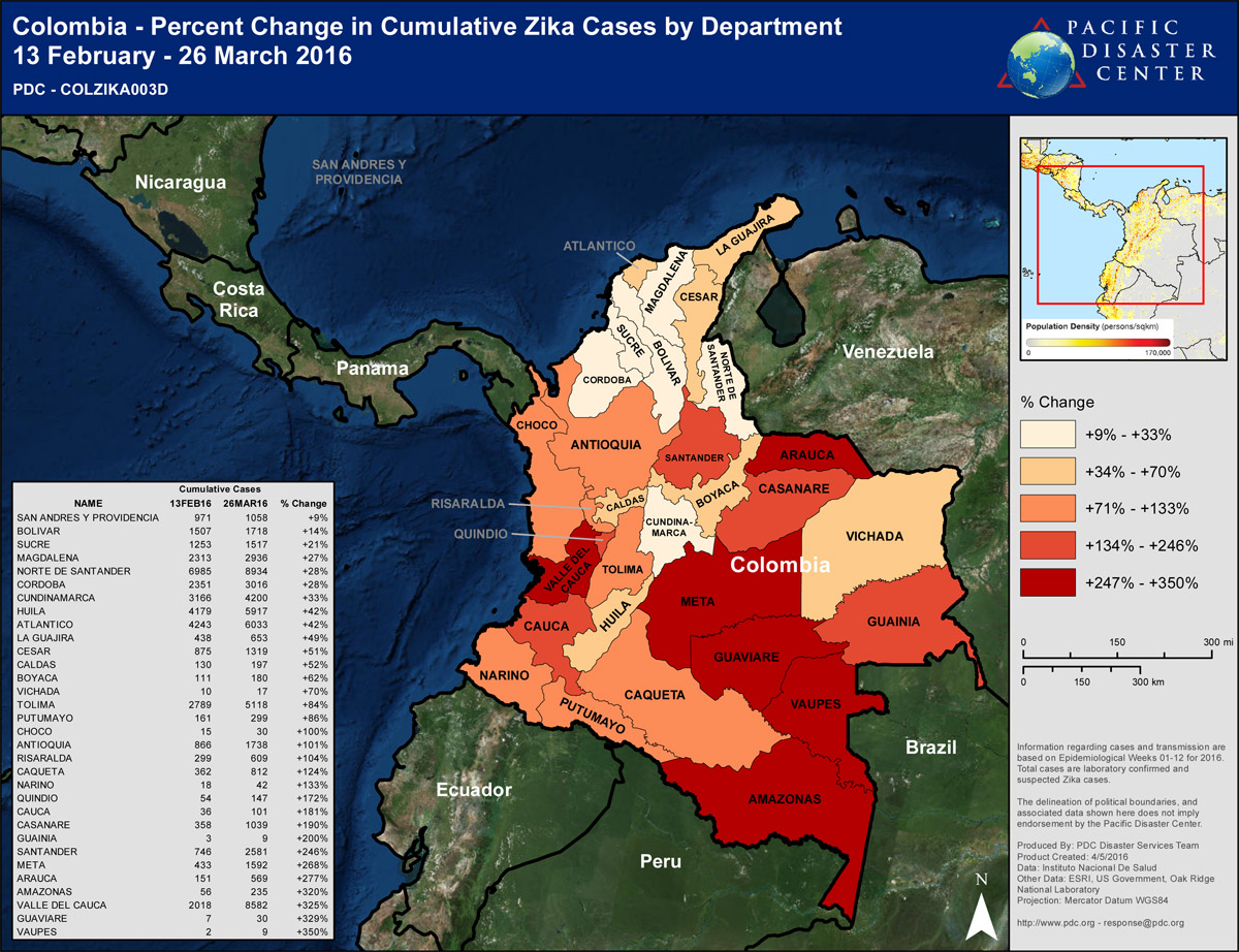 Colombia – Percent Change in Cumulative Zika Cases by Department, February 13 through March 26, 2016