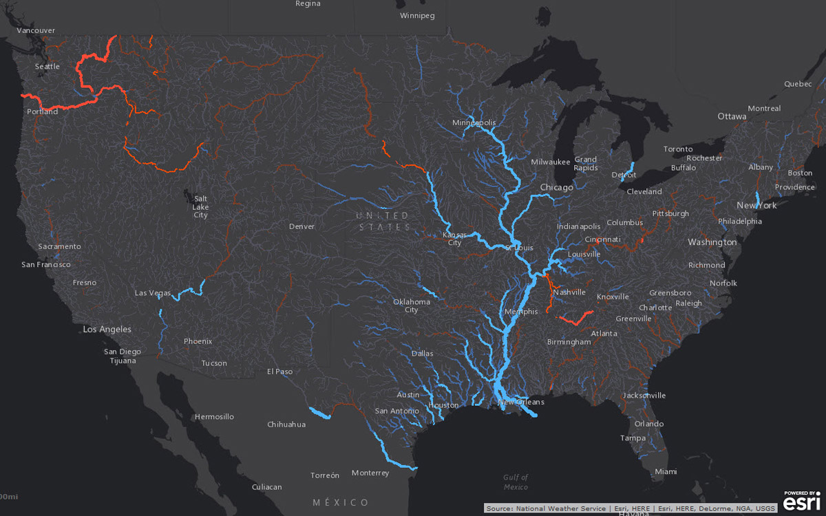 Smart mapping leader Esri today released a robust collection of web maps that display NOAA forecast streamflow data for the continental United States.