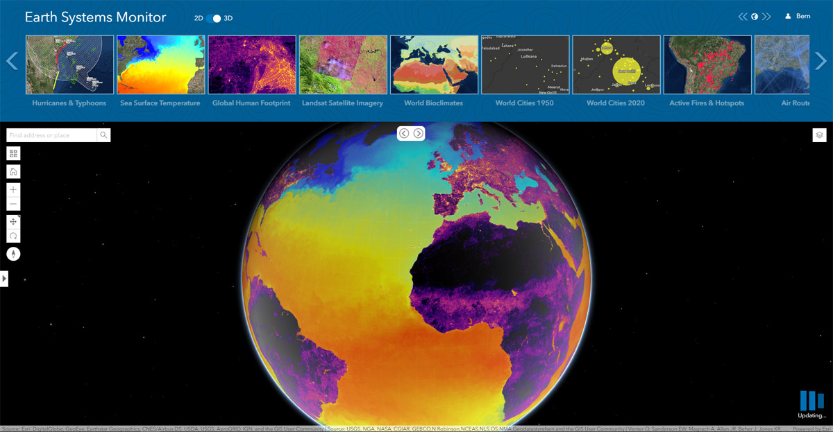 The new Earth Systems Monitor app, powered by Living Atlas data, showing Sea Surface Temperature.