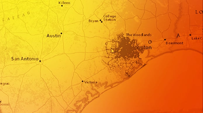 GIS map used by CenterPoint Energy to identify where all gas and electric assets are in Texas and the other states they serve.